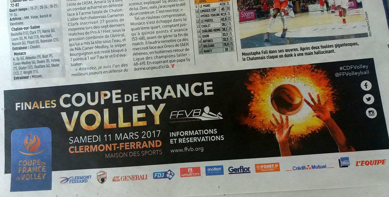 Annonce presse Coupe de France de volley journal l'Équipe