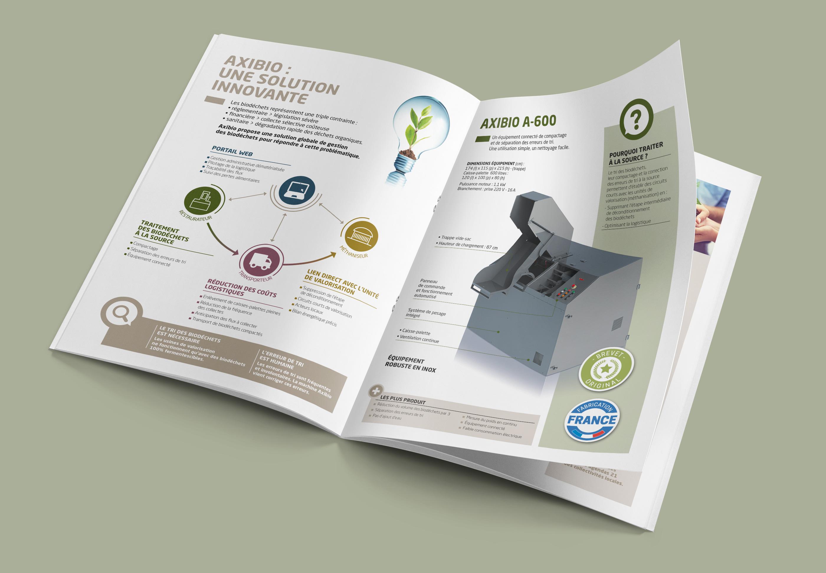 Double page intérieure de la brochure restaurateur Axibio