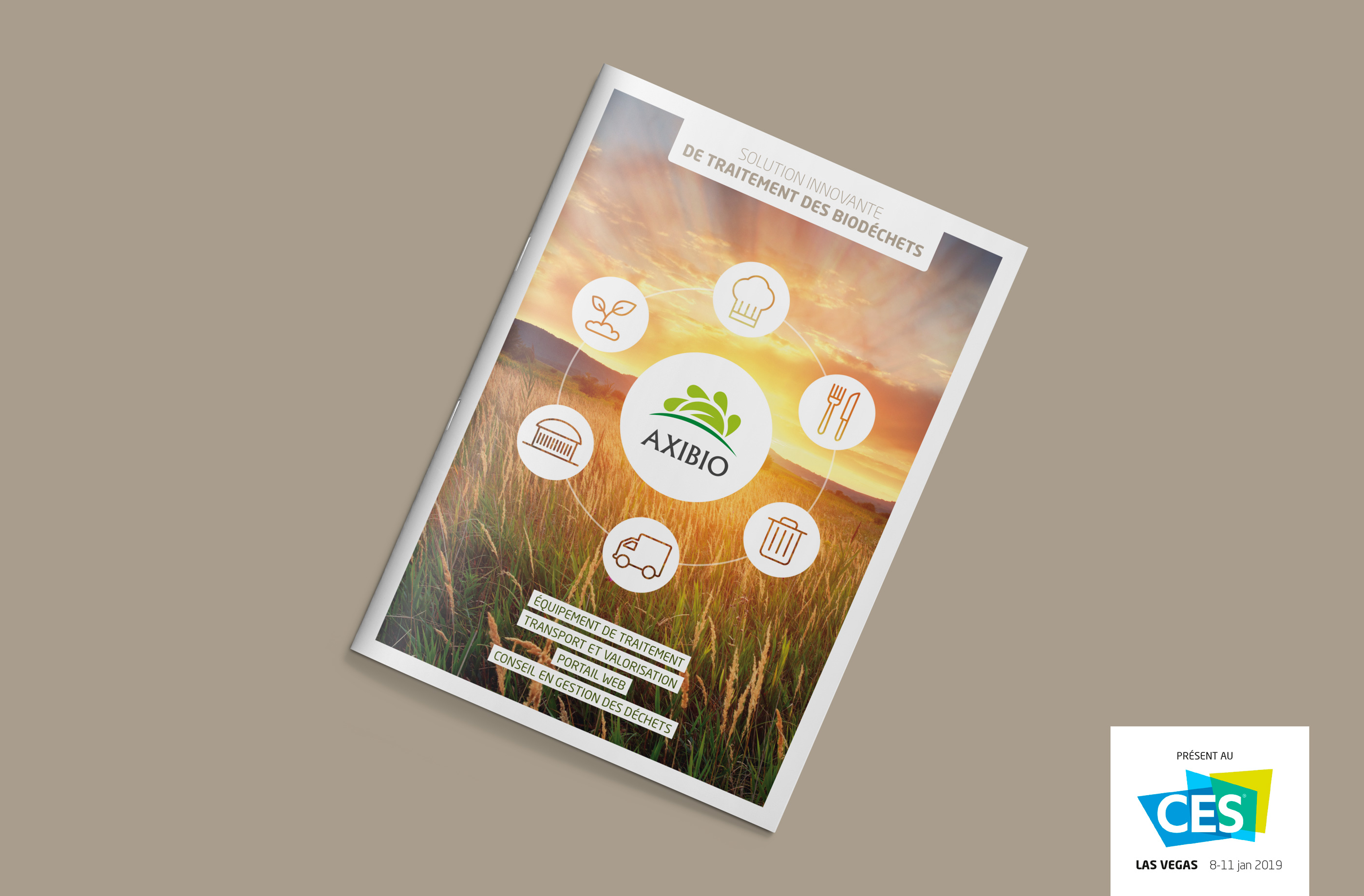 Brochure restaurateur Axibio avec le logo CES Las Vegas