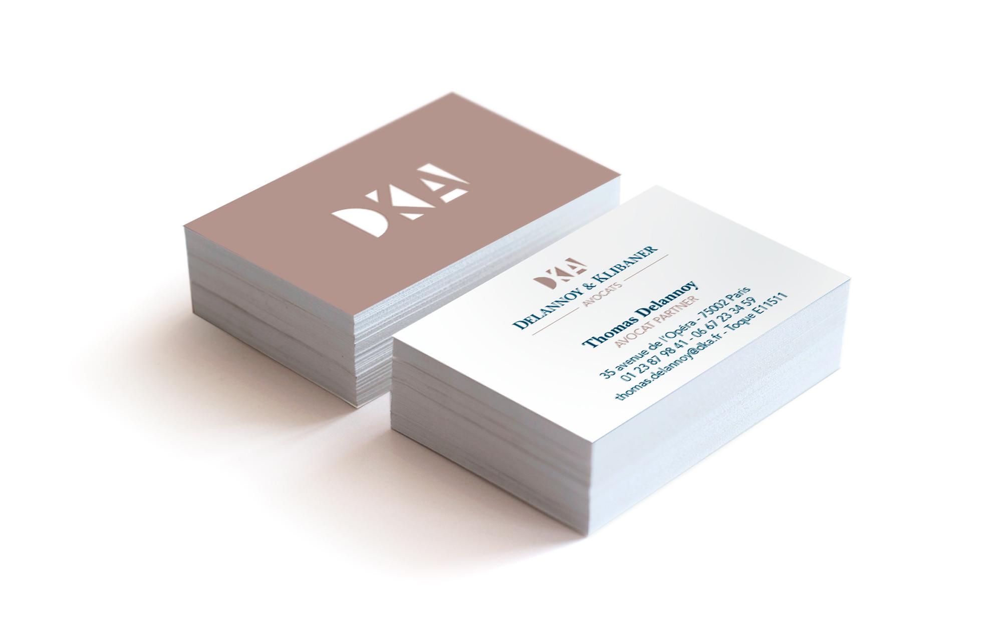 Cartes de visite imprimées Delannoy & Klibaner Avocats