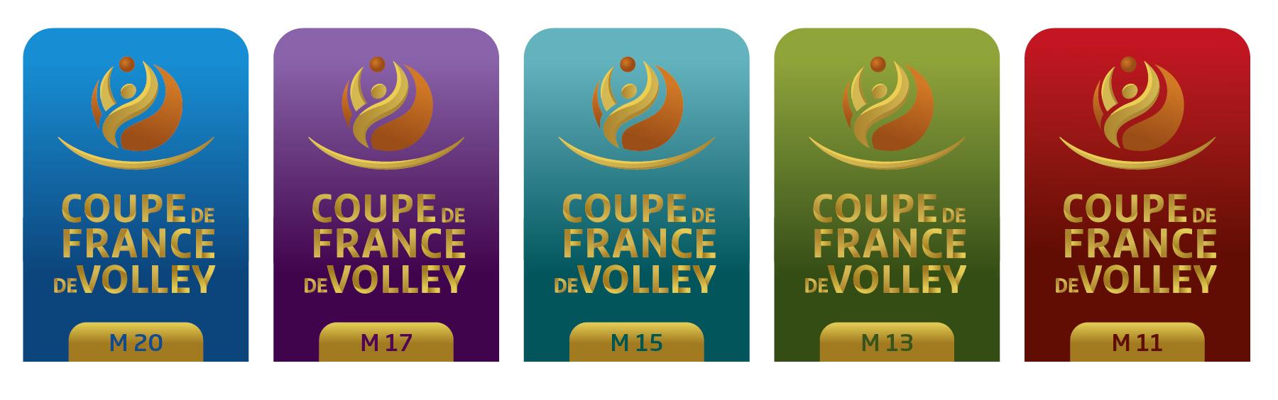 Gamme des logos coupe de France de volley par catégories jeunes