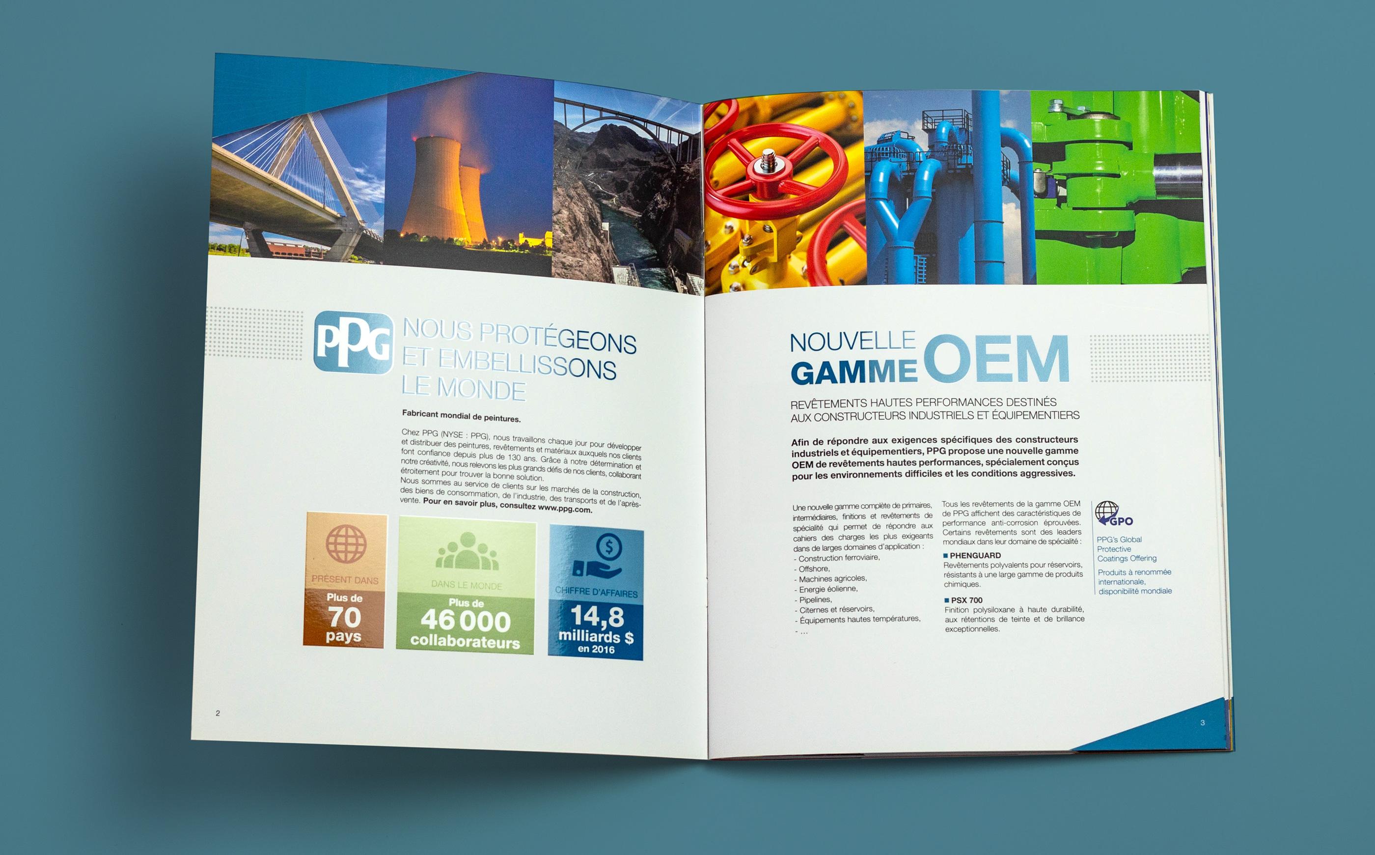 Photo de la double page d'ouverture de la brochure OEM Freitag