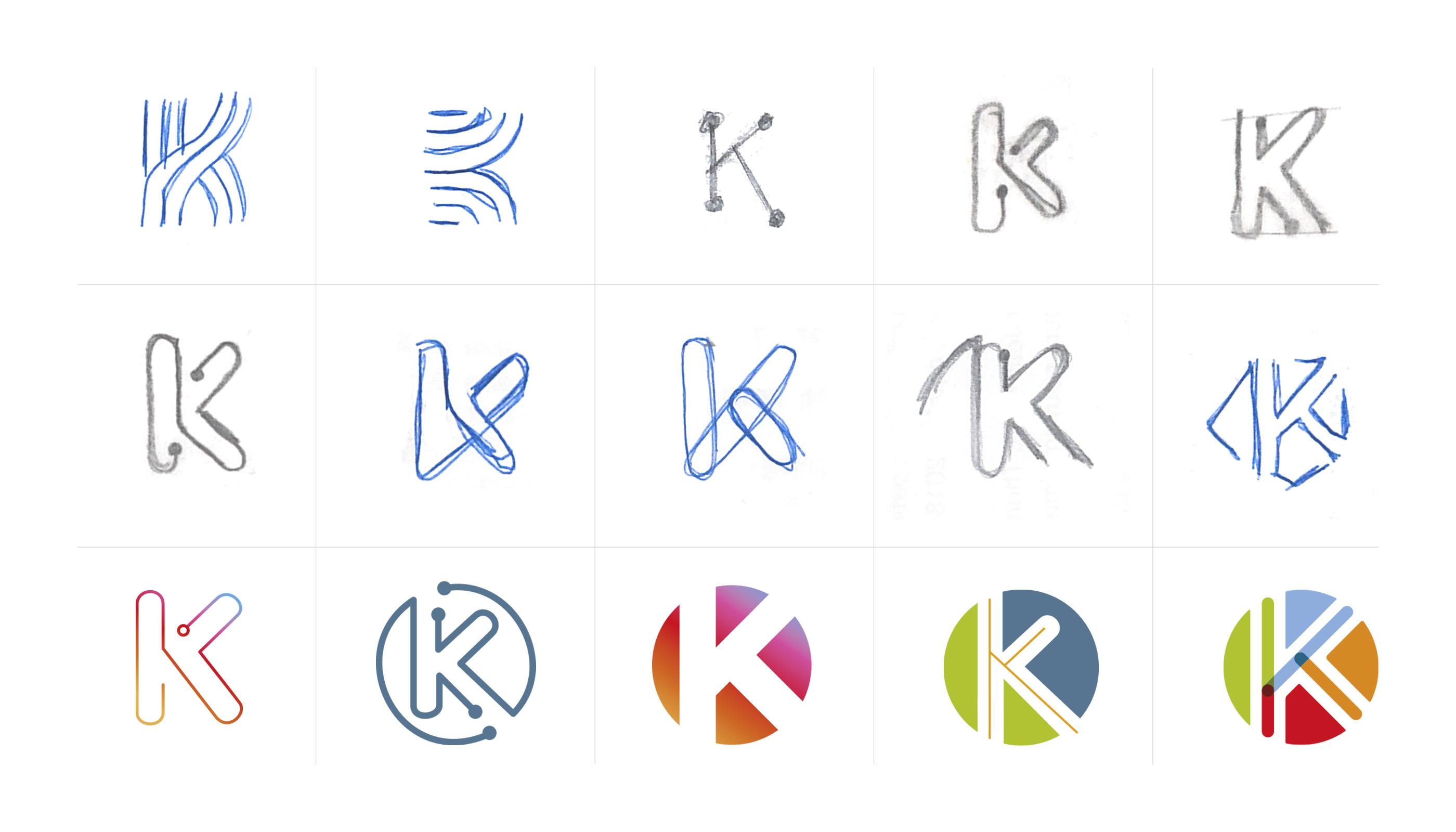 Esquisse de monogramme lettre K