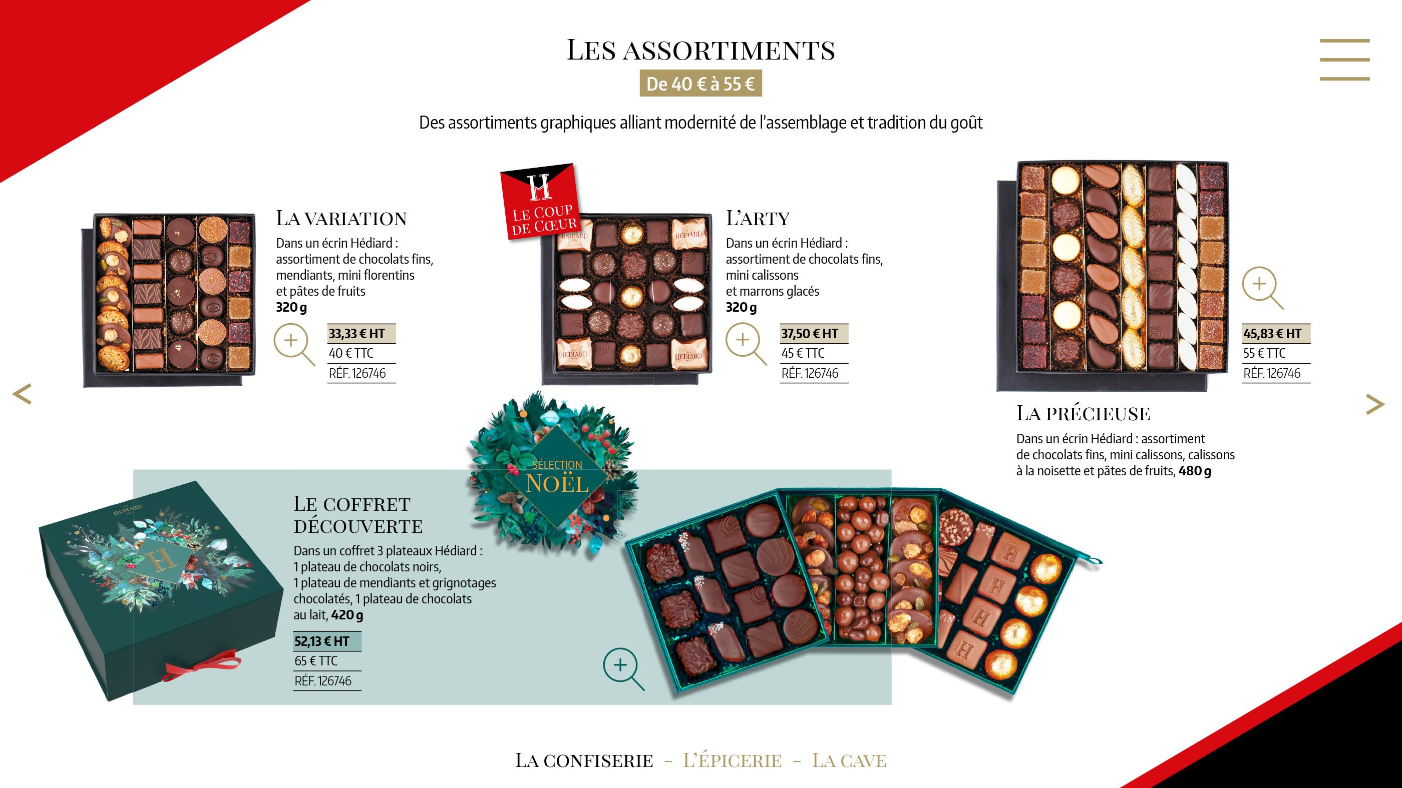 Page assortiments Hédiard catalogue cadeaux entreprises