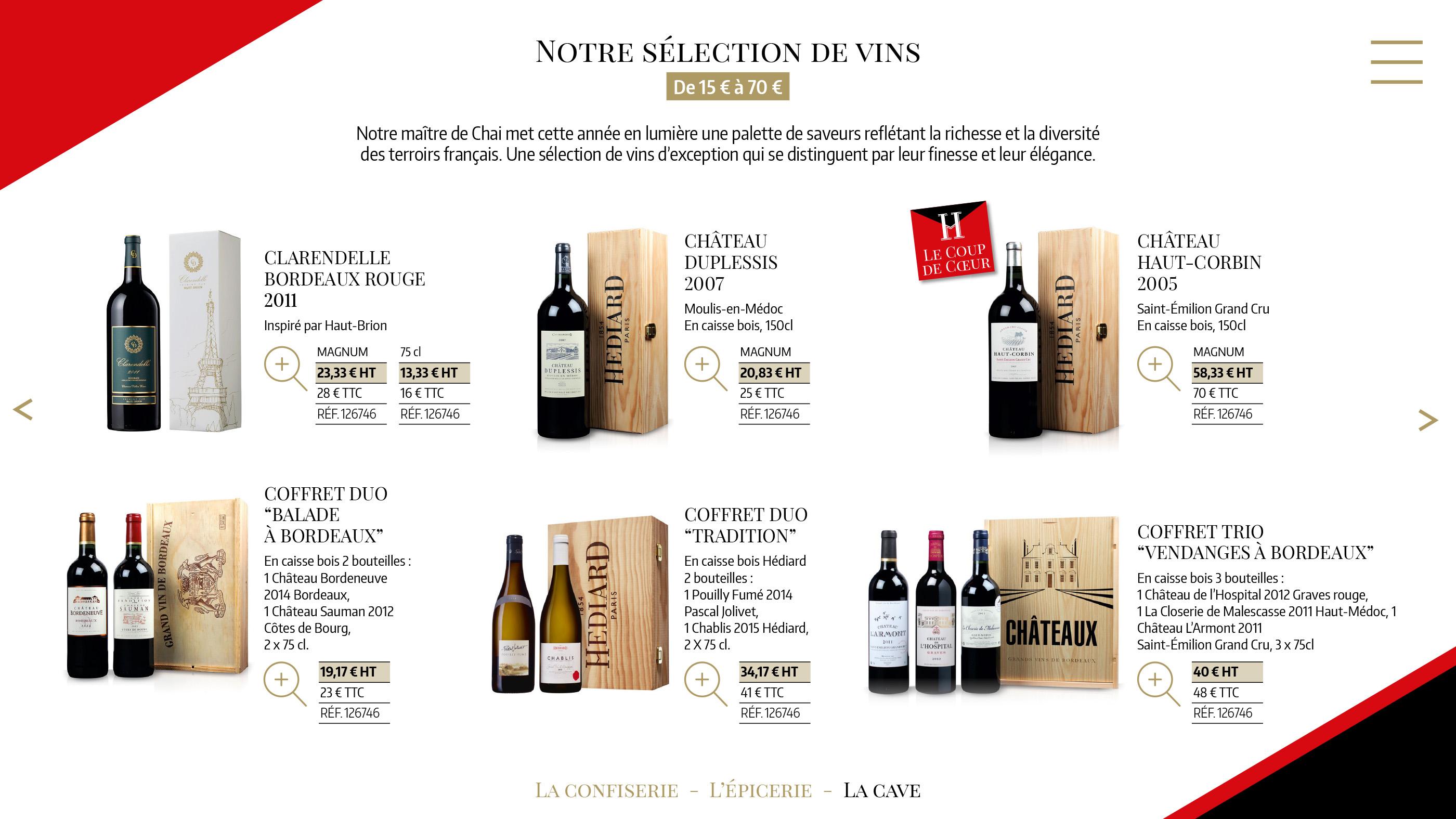Page sélection vins Hédiard catalogue cadeaux entreprises