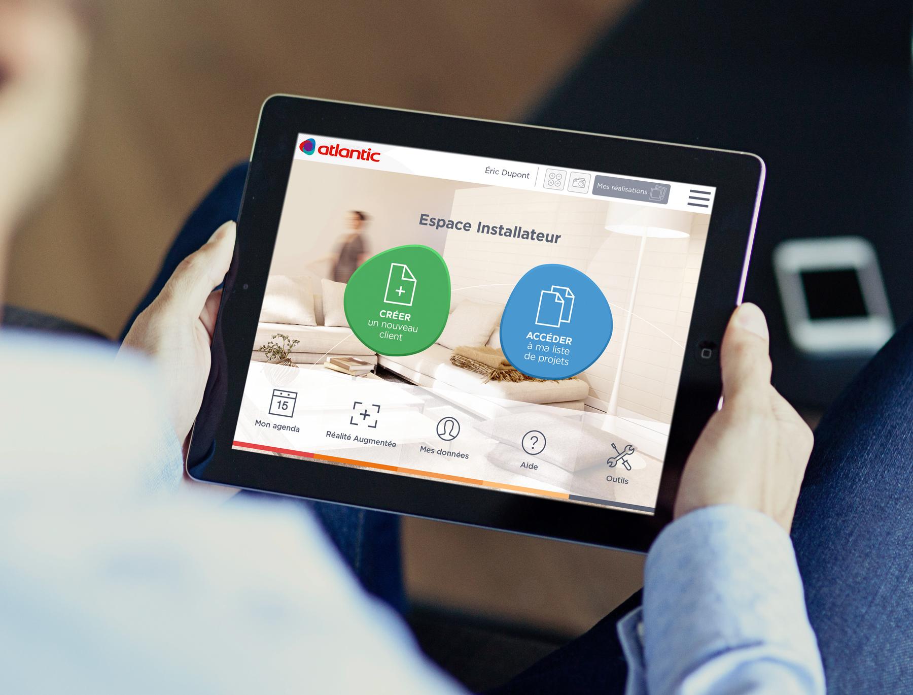 Atlantic application digitale installateurs écran accueil