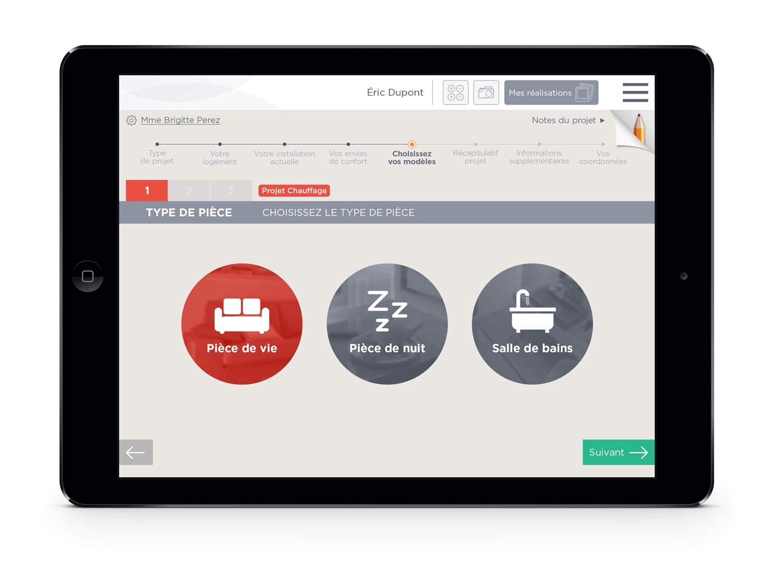 Atlantic application digitale installateurs écran choix pièce