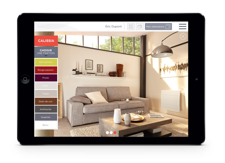 Atlantic application digitale installateurs écran choix couleurs