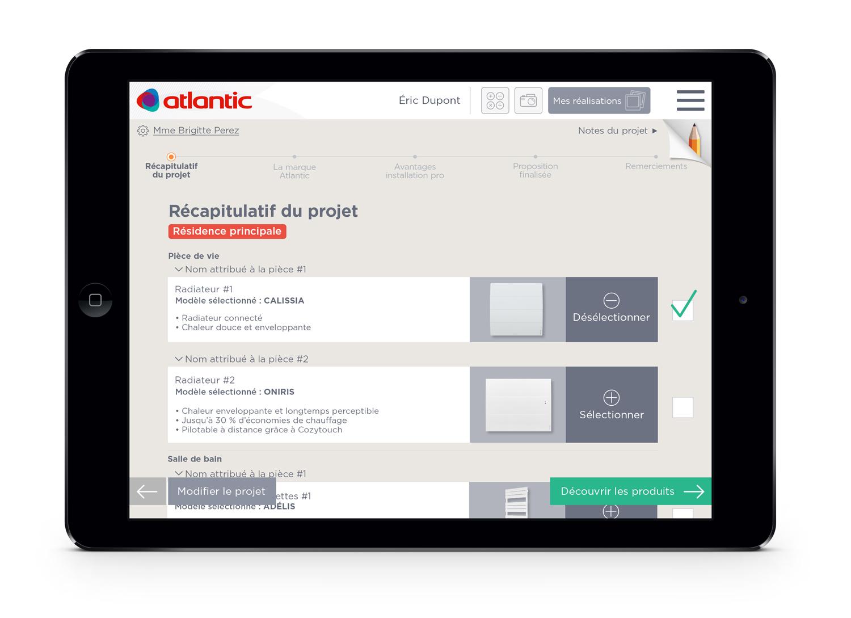 Atlantic application digitale installateurs écran récapitulatif