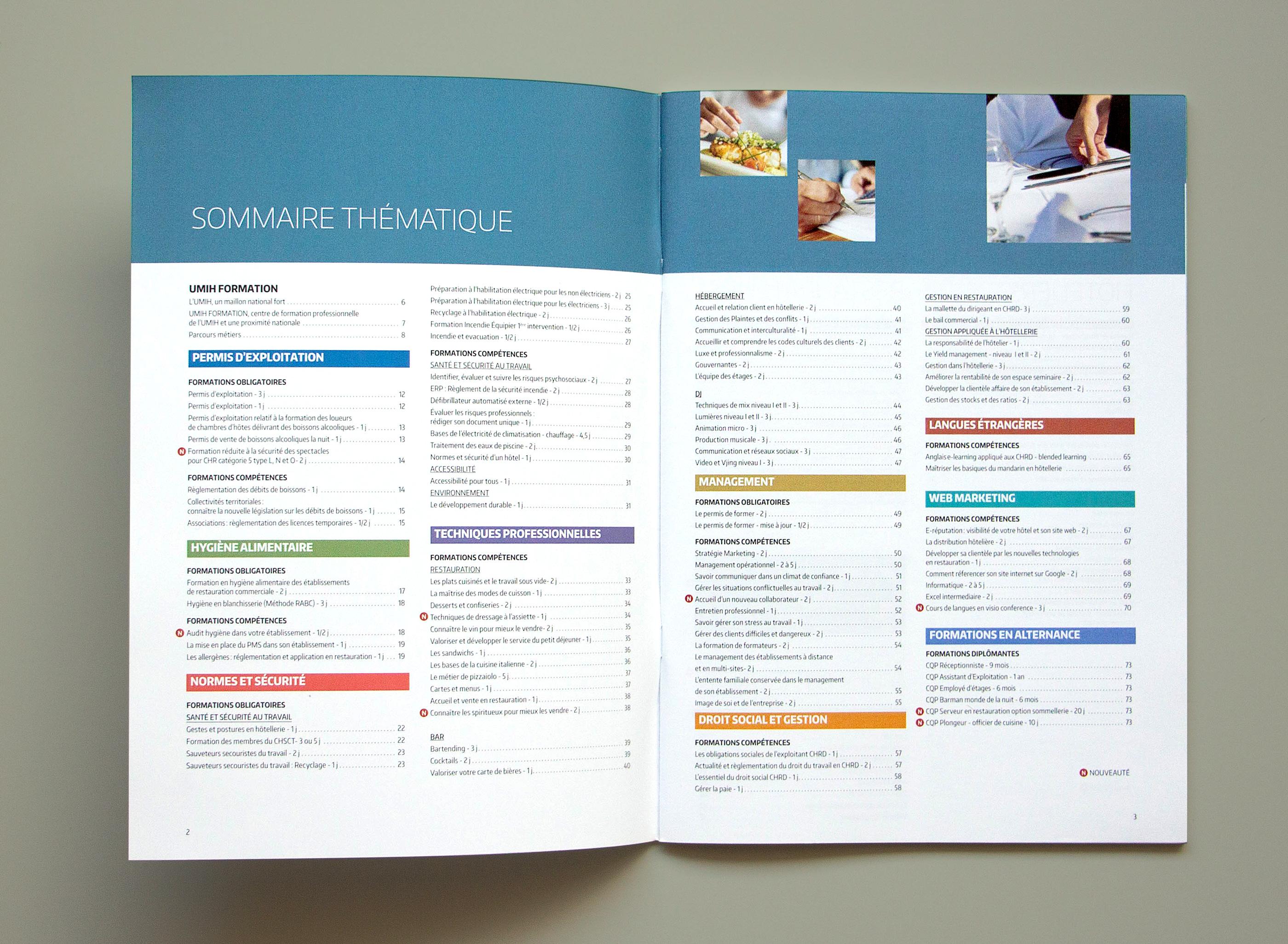 Photo du sommaire thématique du catalogue UMIH formation