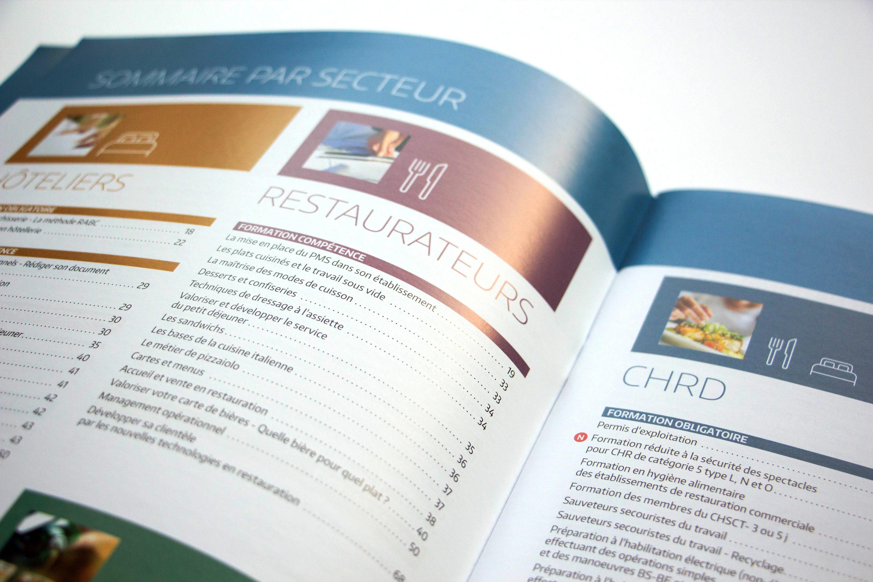 Photo d'un détail de l'intérieur du catalogue UMIH formation