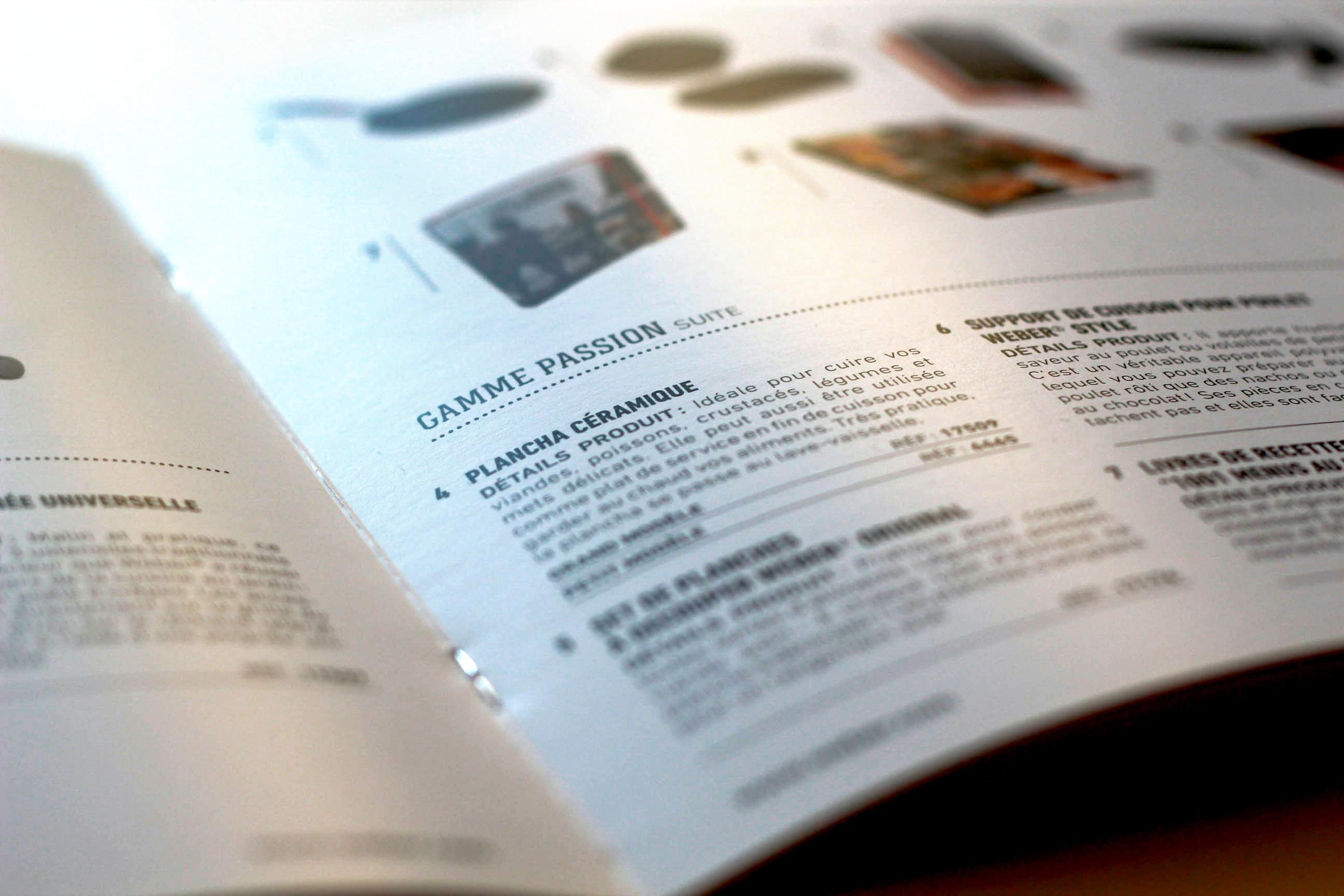 Weber détail impression catalogue produits barbecue